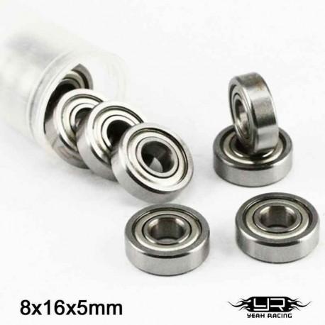 10 Cuscinetti a Sfera 8x16x5mm (S.Acciaio) - YEAH RACING YB6022MS-10