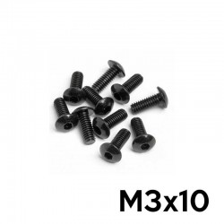 10 Viti a Brugola M3x10 Testa a Bottone (NERE) - TM