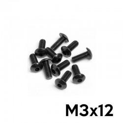 10 Allen head Screws M3x12 Button Head (BLACK) - TM