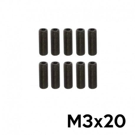 10 Grani a Brugola M3x20 Punta Piatta (NERI) - TM TM-GPP3X20