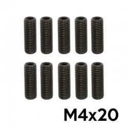 10 Grains of Allen head screws M4x20 Flat Tip (BLACK) - TM