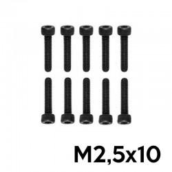 10 Viti a Brugola M2.5x10 Testa Cilindrica (NERE) - TM TM-VC25X10