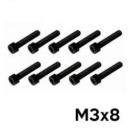10 Viti a Brugola M3x8 Testa Cilindrica (NERE) - TM