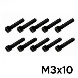10 Viti a Brugola M3x10 Testa Cilindrica (NERE) - TM