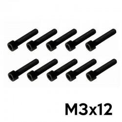 10 Viti a Brugola M3x12 Testa Cilindrica (NERE) - TM