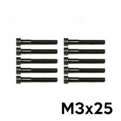 10 Viti a Brugola M3x25 Testa Cilindrica (NERE) - TM