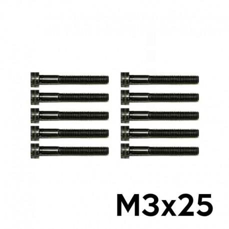 10 Viti a Brugola M3x25 Testa Cilindrica (NERE) - TM TM-VC3X25