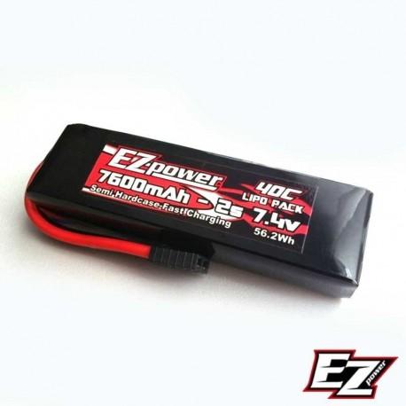 Batteria LiPo 7600mAh 7.4v 2s 40c HARDCASE - EZ POWER EZP7600-2-TXX
