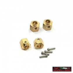 WEIGHTS HEXAGONS pad holder L. 10MM BRASS for TRX-4 Defender - TM